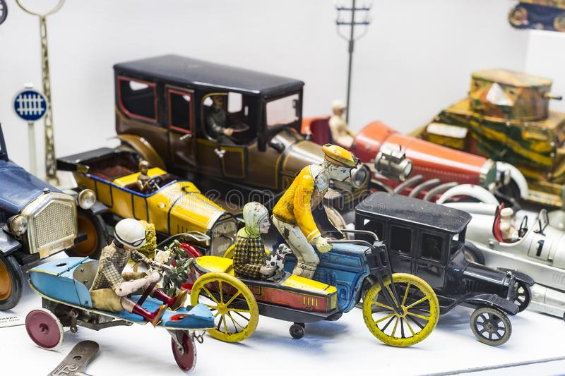 Collection of toys in the Toy Museum in the old tower of the City Hall, created by Ivan Steiger in 1983. MUNICH, GERMANY - NOVEMBER 23, 2018 : Collection of royalty free stock images