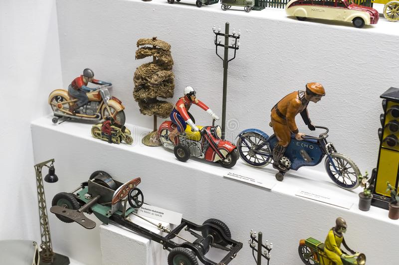 Collection of toys in the Toy Museum in the old tower of the City Hall, created by Ivan Steiger in 1983. MUNICH, GERMANY - NOVEMBER 23, 2018 : Collection of stock photography