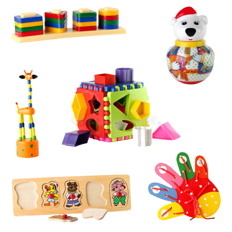Collection of toys for young children isolated on white background.  stock image