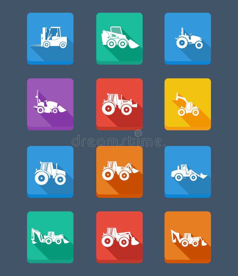 Free Collection Tractor And Silhouettes. Icons Royalty Free Stock Photography - 93084917
