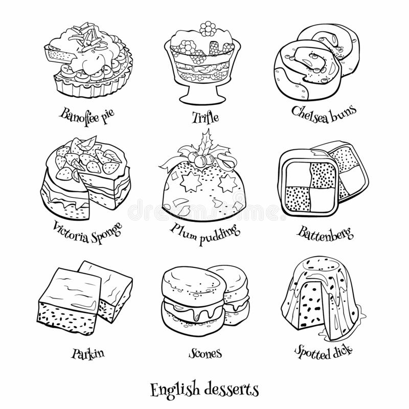 Collection of traditional english desserts. Hand drawn sketch in doodle style. Doodle set of english sweets. Hand drawn sketch of traditional desserts. Vector vector illustration