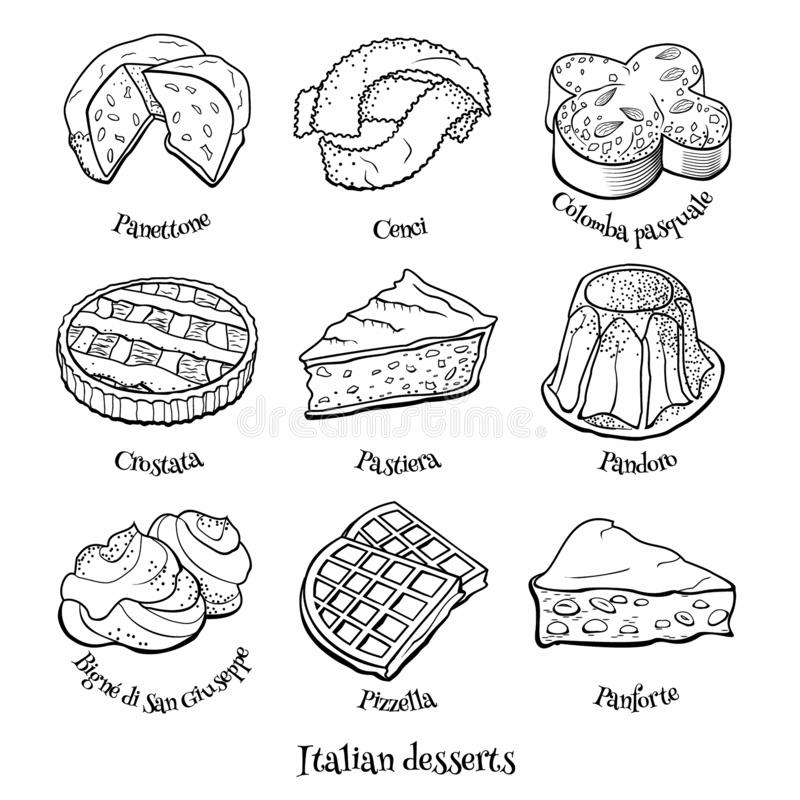 Collection of traditional Italian desserts. Hand drawn sketch in doodle style. Doodle set of Italian sweets. Hand drawn sketch of traditional desserts. Vector stock illustration