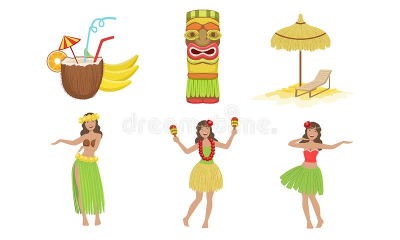 Collection of Traditional Symbols of Hawaiian Culture, Coconut Cocktail, Tiki Mask, Straw Umbrella, Beautiful Girls. Dancing in Traditional Costume Vector vector illustration
