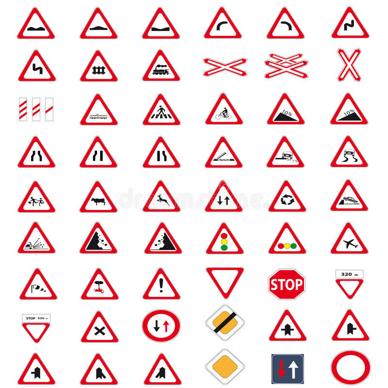 Collection traffic signs royalty free stock photo
