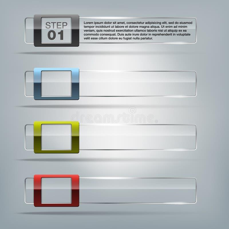 Collection of transparent glass frames vector illustration