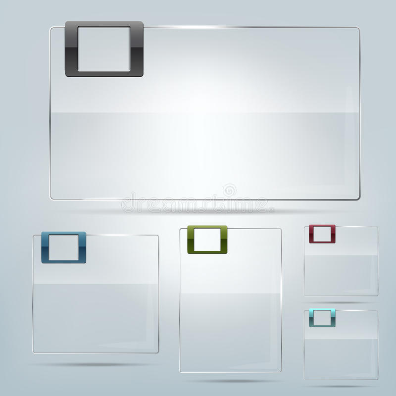 Collection of transparent glass frames royalty free illustration