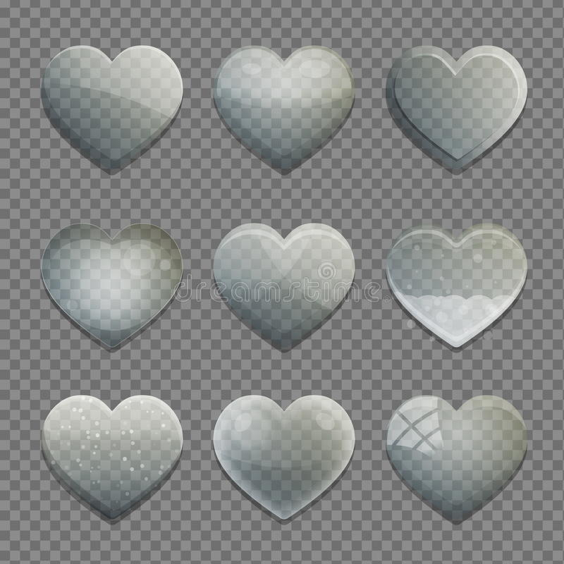 Collection of transparent glass heart shape app buttons stock illustration