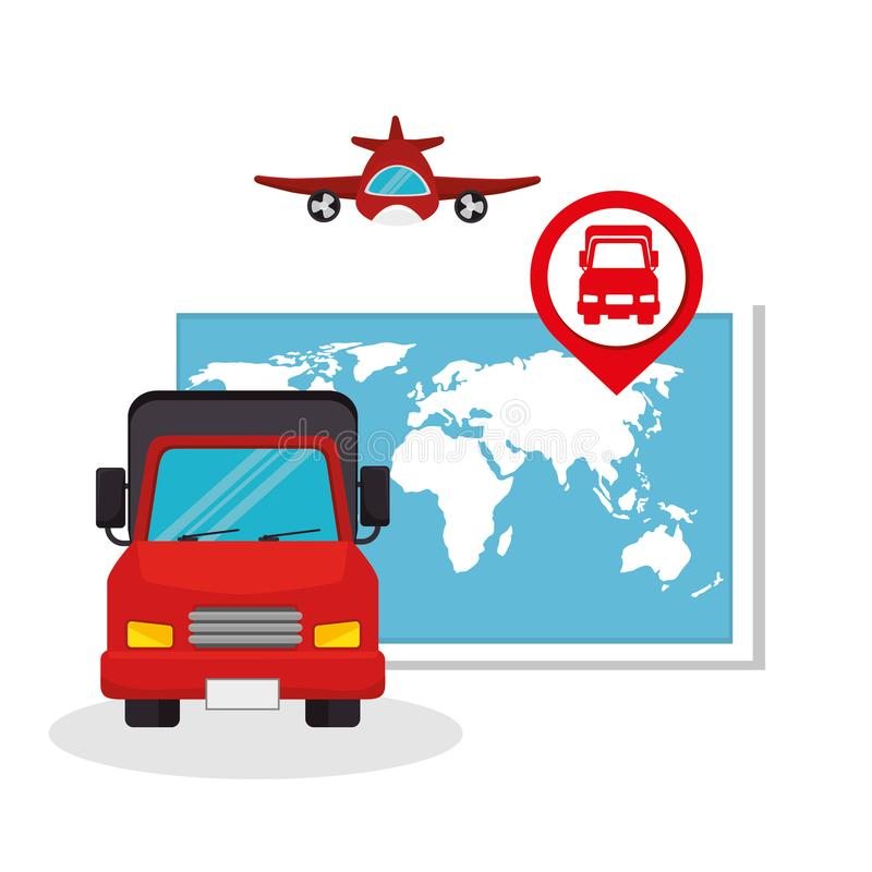 Collection transport concept map truck plane. Vector illustration eps 10 stock illustration