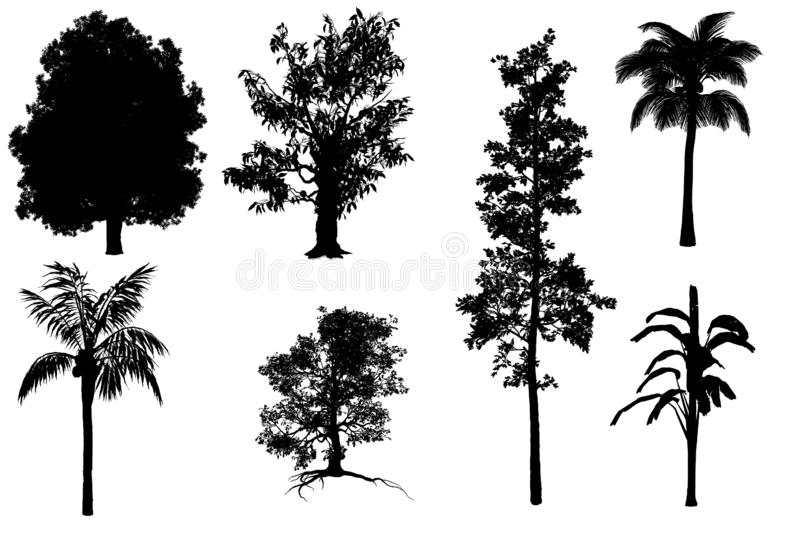 7 in 1 collection of tree concept with black color. Isolated over a white background in black shadow style concept for banner, greeting card, glitter card, t royalty free illustration