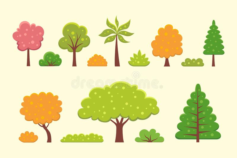 Collection of trees and bushes illustrations in cartoon style. Forest and garden tree nature plant isolated. royalty free illustration