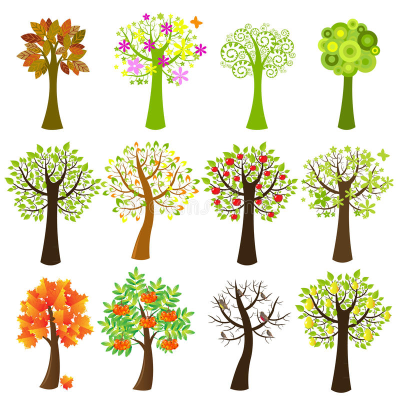 Collection Of Trees. Vector royalty free illustration