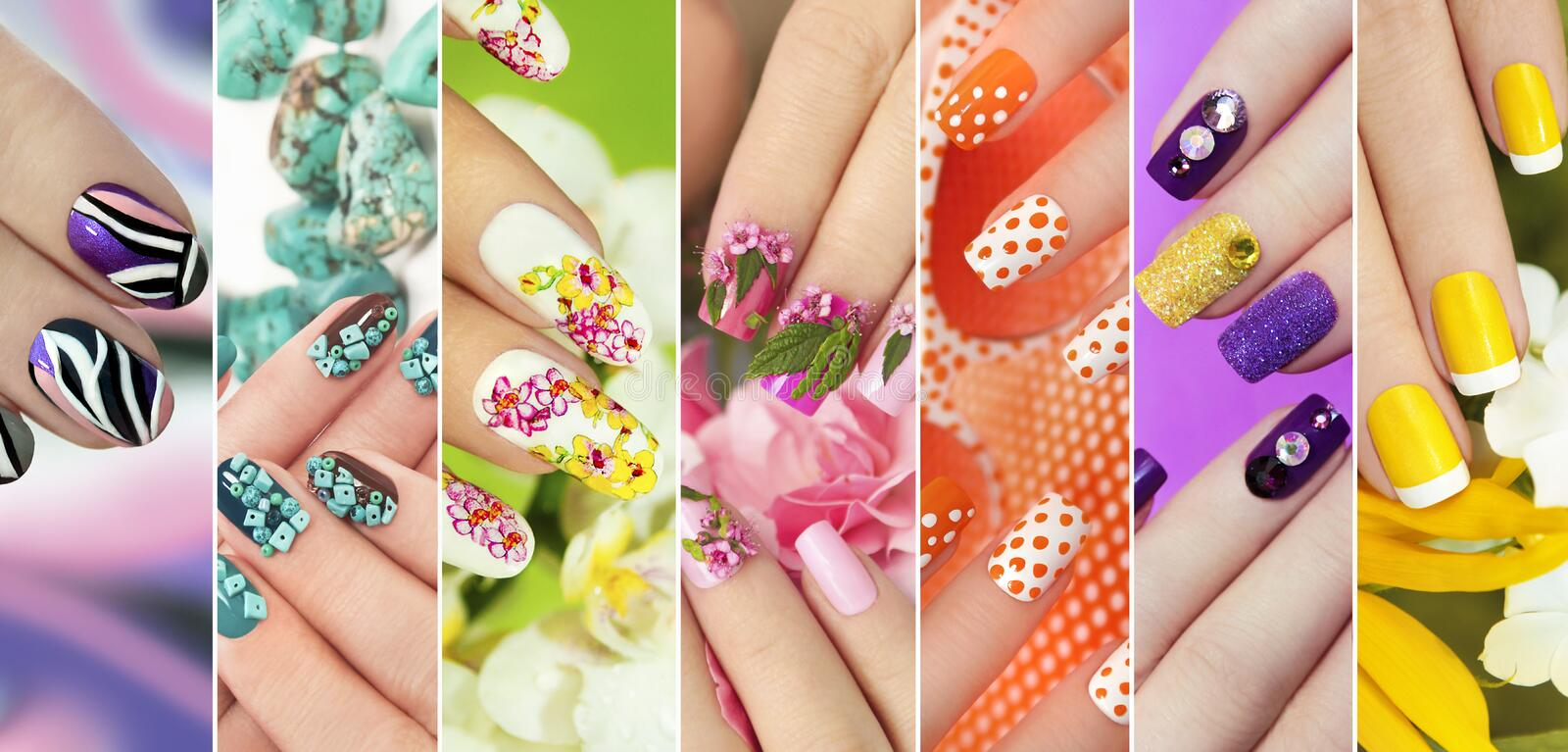 Collection of trendy colorful various manicure . royalty free stock image