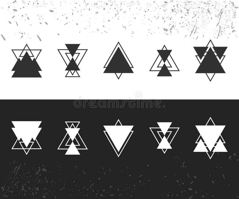 Collection of trendy geometric shapes. Geometric icons set. Trendy hipster logotypes. Vector illustration stock illustration