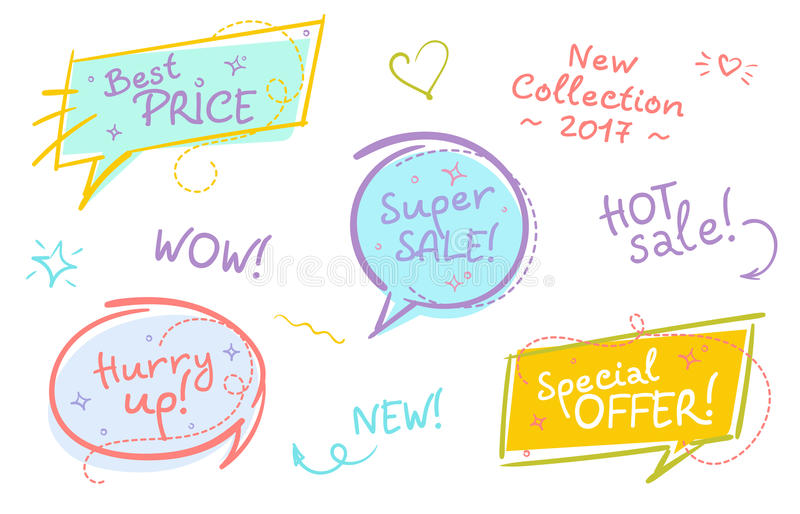 Collection of Trendy Sale Speech Bubbles with Handwritten Text a stock illustration