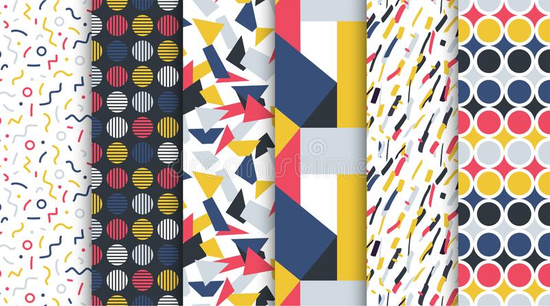 Collection of trendy seamless colorful patterns - repeatable minimalistic design. Retro fashion style 80-90s. Collection of trendy seamless colorful patterns stock illustration