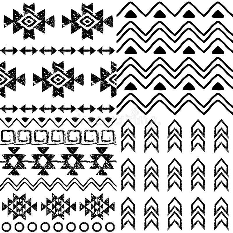 Collection tribale de modèle, ensemble aztèque de fond, conception de Navajo dans le modèle noir sur le blanc illustration stock