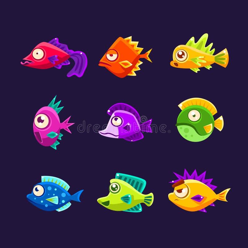 Collection tropicale colorée de poissons illustration de vecteur