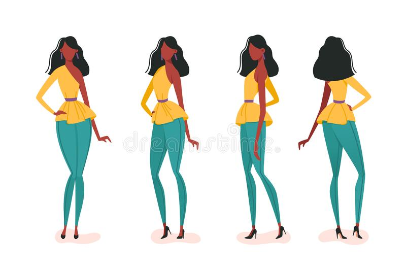 Collection of turning various girl poses. Concept set young woman model walks down the runway. illustration royalty free illustration
