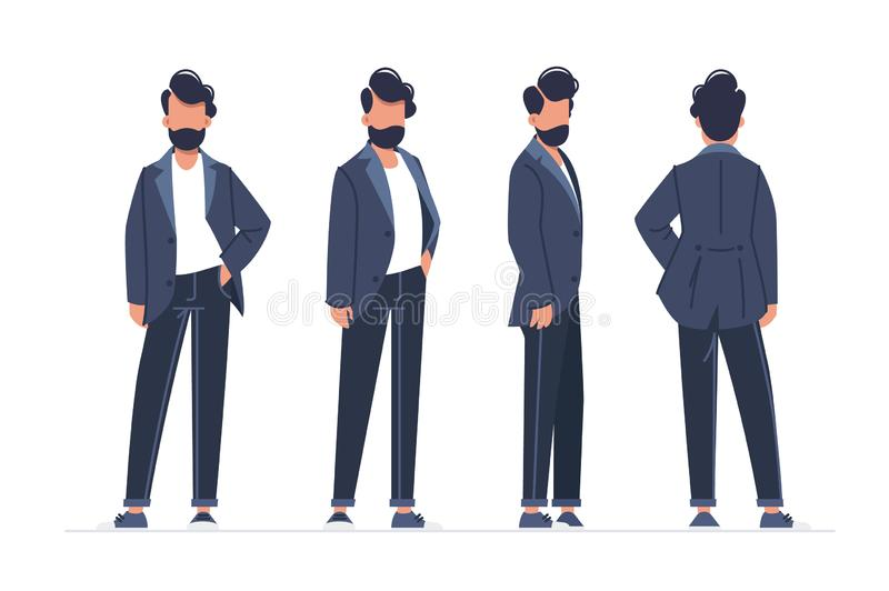 Collection of turning various male poses. Concept set young man model walks down the runway. illustration stock illustration