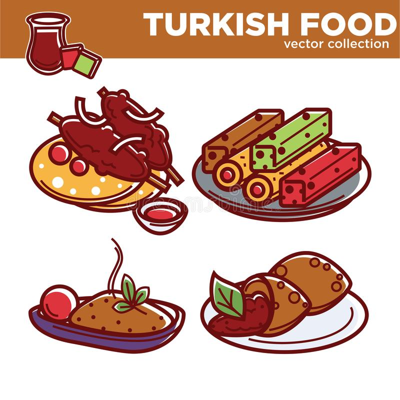 Collection turque exotique de vecteur de nourriture avec des plats des plats illustration libre de droits