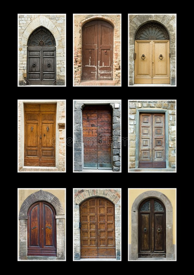 Collection Tuscany doors isolated black stock photography