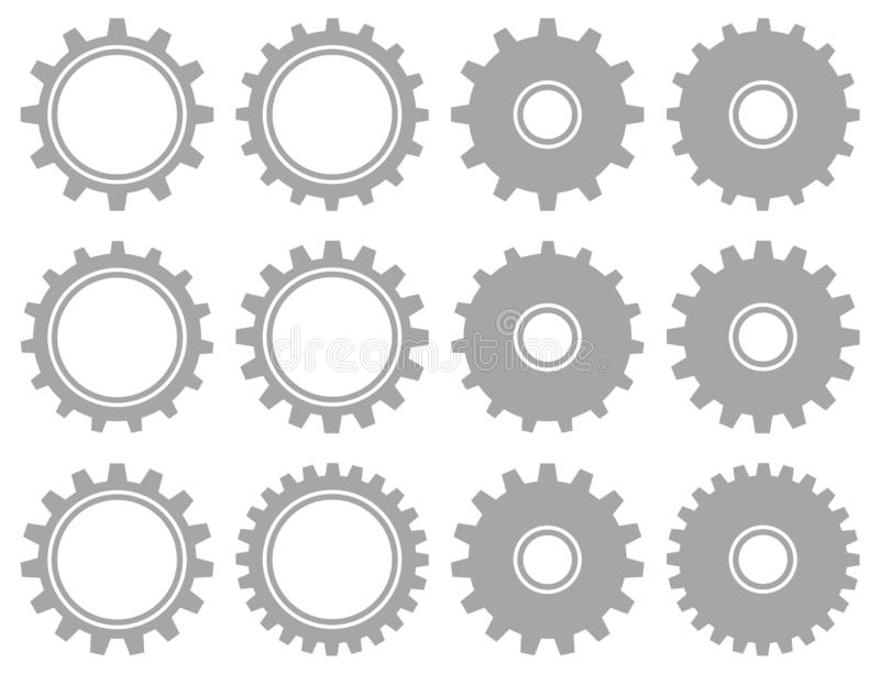 Set Of Twelve Gray Graphic Gears Different Shapes stock illustration