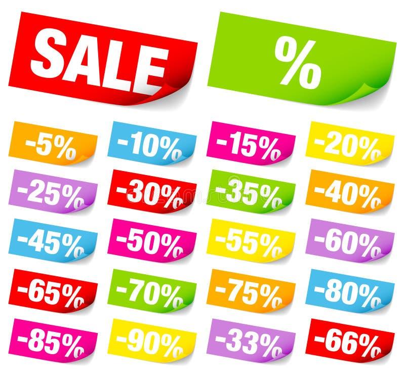 Set Of Twenty-Two Colorful Sticky Notes Sale Minus stock illustration