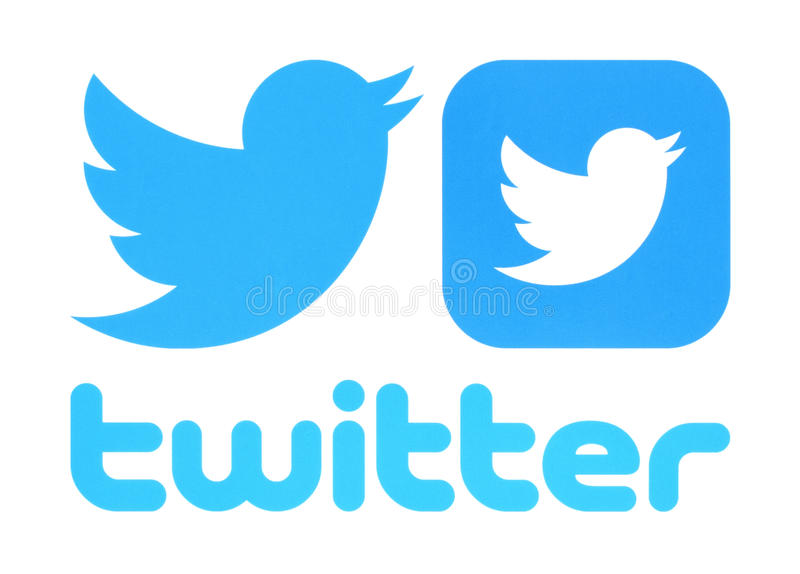 Collection of Twitter logos. Kiev, Ukraine - May 30, 2016: Collection of Twitter logos printed on paper. Twitter is an online social networking service that vector illustration