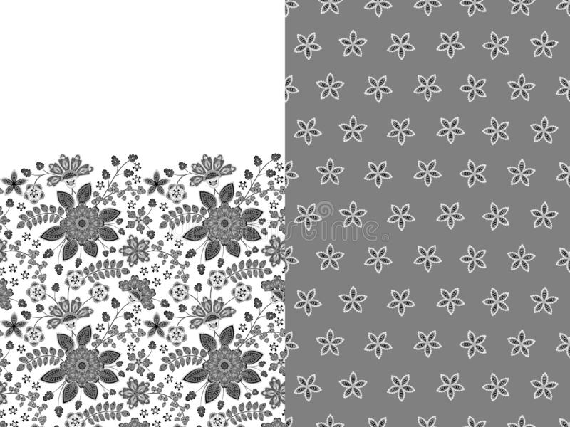 Collection two seamless pattern. Textile bohemian print. Floral wallpaper. Decorative ornament for fabric, textile royalty free illustration