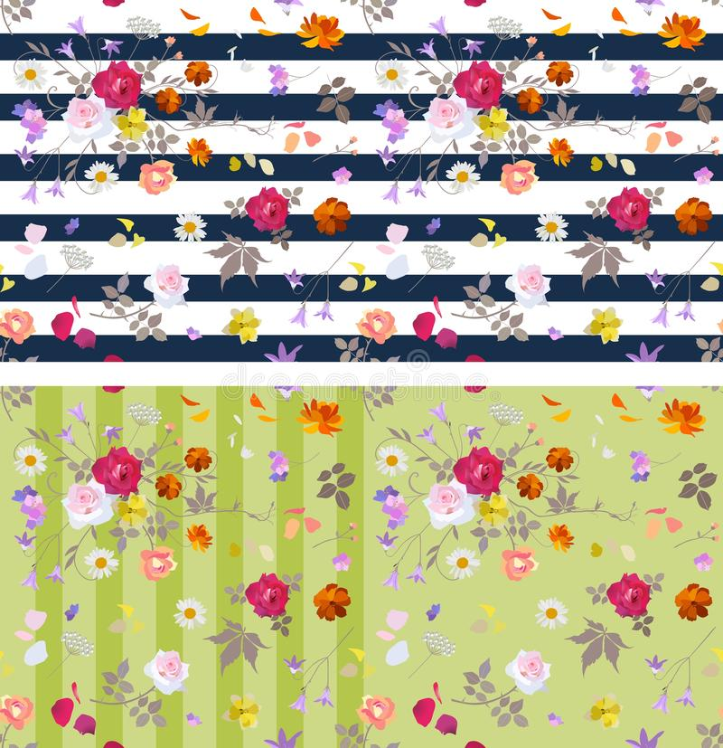 Collection of two seamless striped ditsy floral patterns. Vector summer design. stock illustration