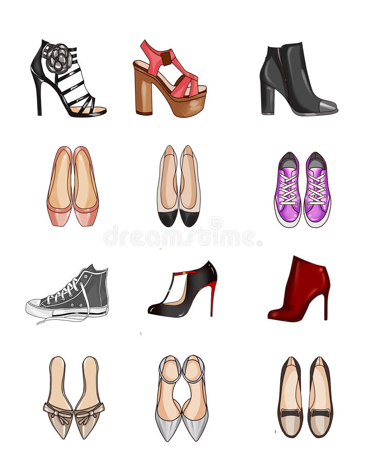 Collection of types of shoes royalty free illustration