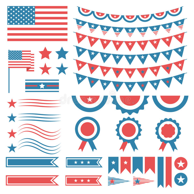 Collection of united states of america decoration elements for Decoracion estados unidos