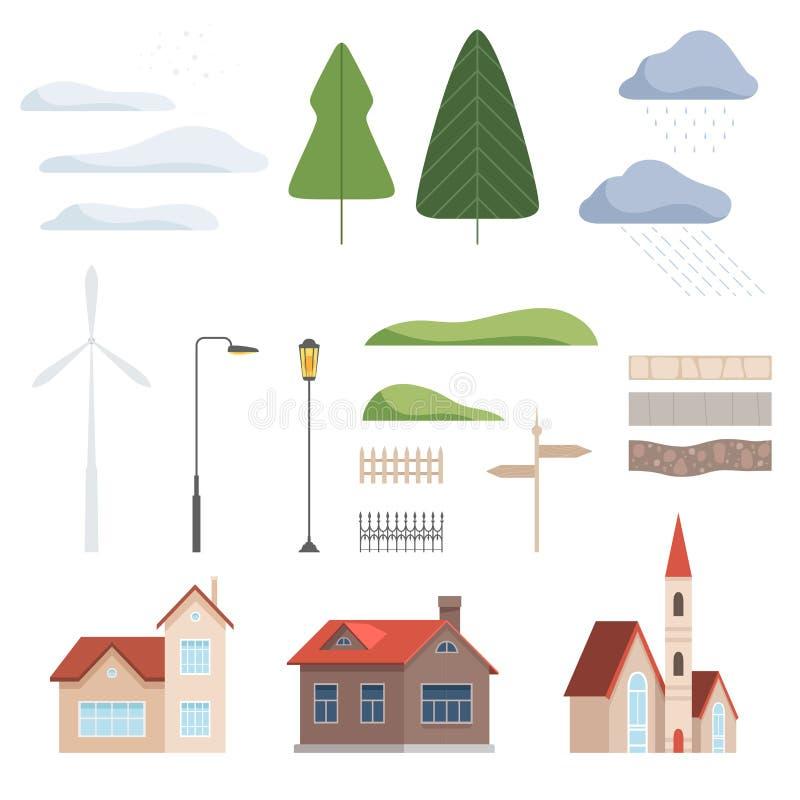 Collection of urban landscape constructor design elements vector Illustration stock illustration