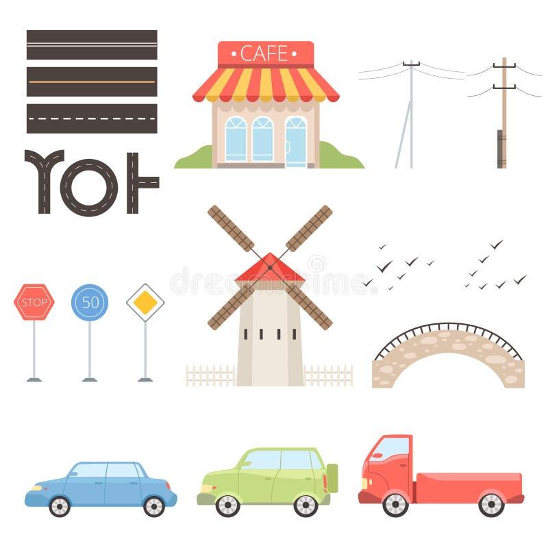 Collection of urban or rural landscape constructor design elements vector Illustration stock illustration