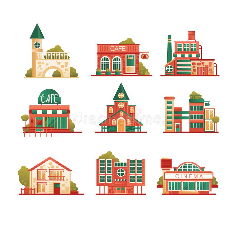 Collection of urban and suburban huses set, private houses and municipal public buildings vector Illustrations on a stock illustration