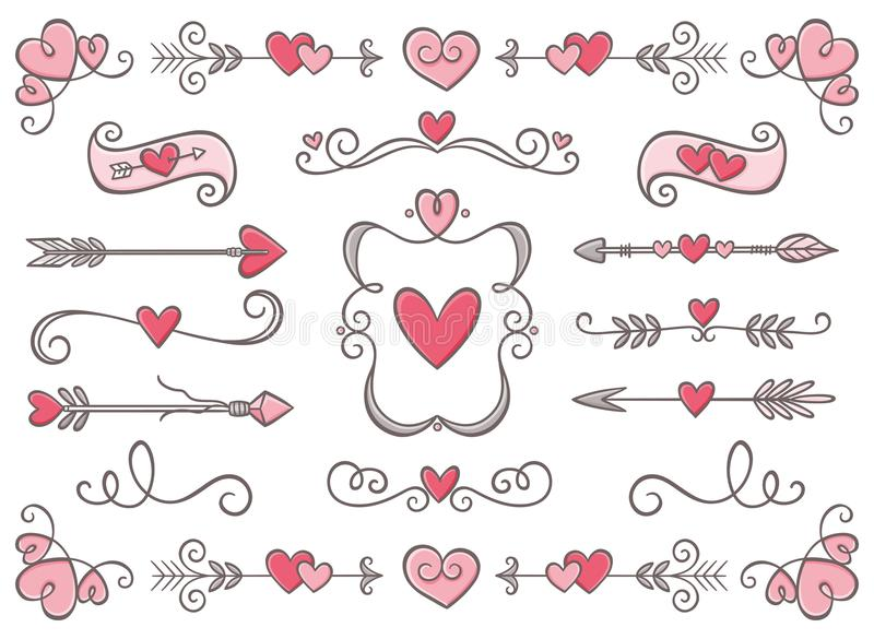 Collection of Valentine Day ornaments. Collection of hand drawn vintage swirl ornaments full of hearts. Valentine`s day special pack design elements. Perfect for royalty free illustration