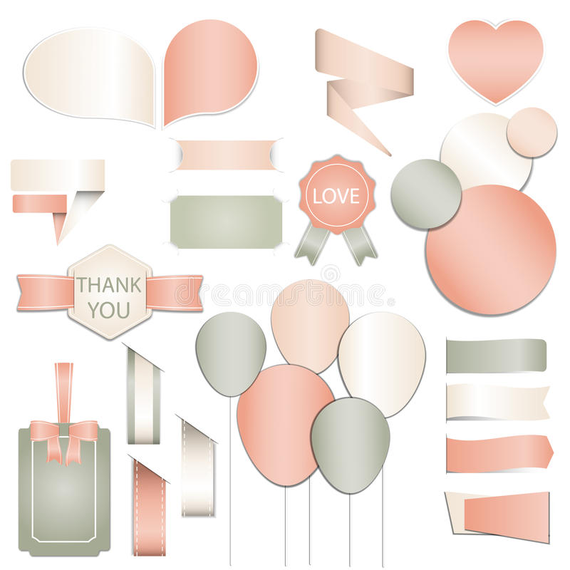 Collection of Valentines day gift tags, stickers and labels templates and modern lovely holidays elements with romantic phrase in stock image