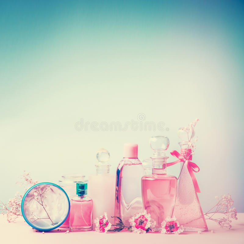 Collection of various beauty bottles and container with cosmetic products: tonic, lotion, perfume, Moisturizer, cream, soups, foam stock photography