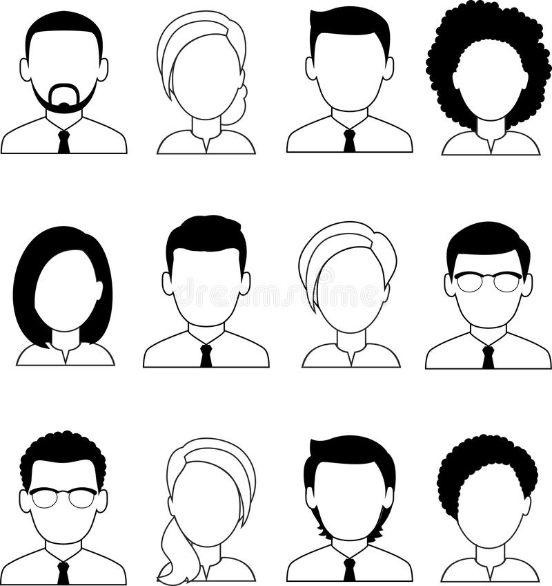 Set of different avatar business peoples in colorful flat style. royalty free illustration