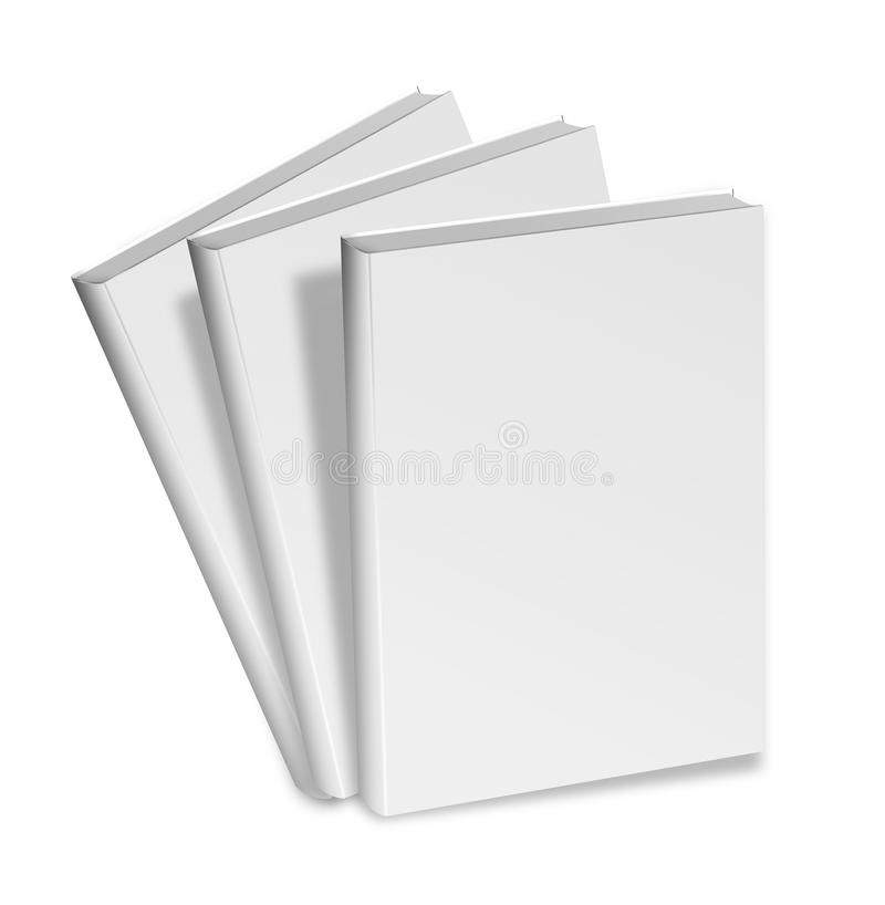 Collection of various blank white books on white background vector illustration