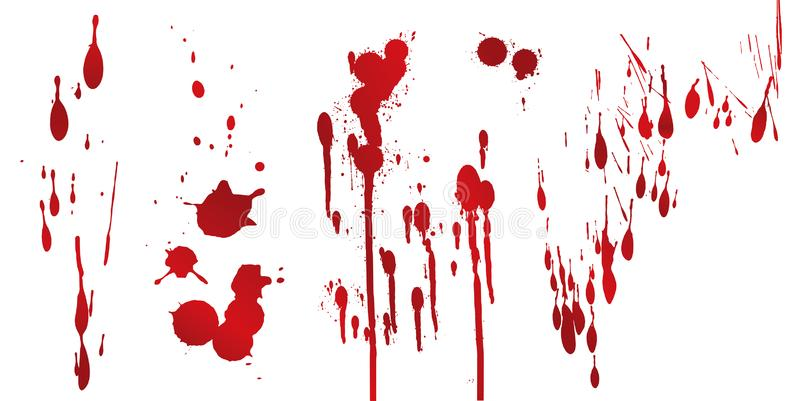 Collection various blood or paint splatters,Halloween concept. Isolated on white royalty free illustration