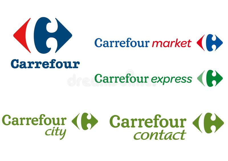 Collection of the various Carrefour brand logos vector illustration