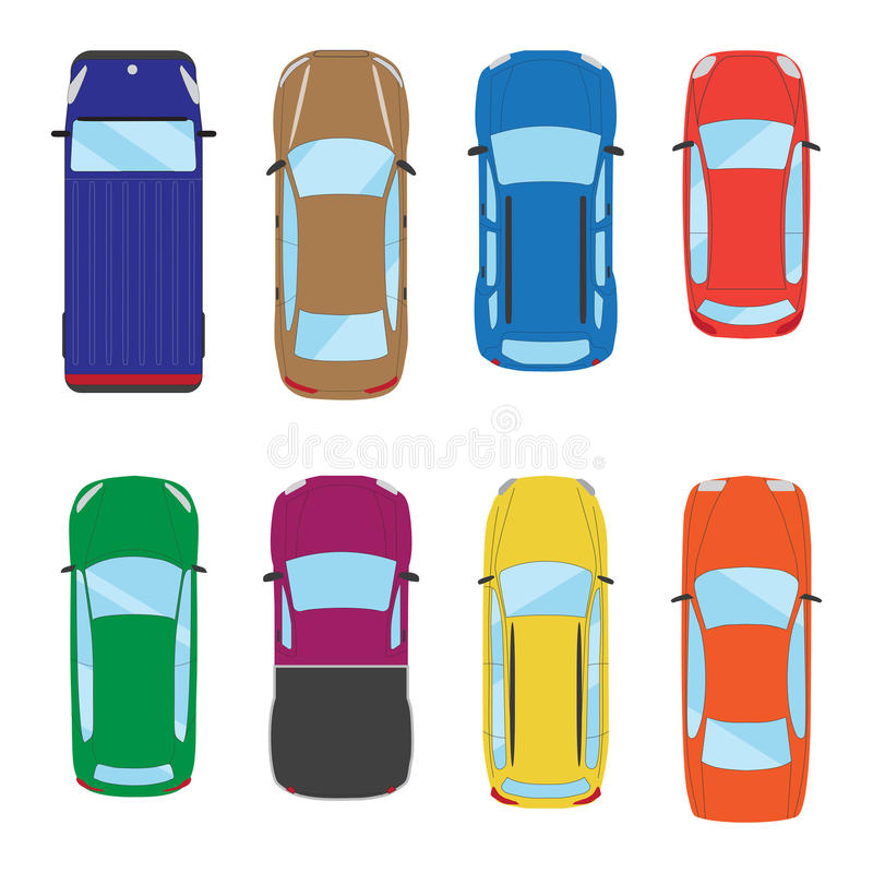 Collection of various cars icons. Car top view illustration. Vector royalty free illustration