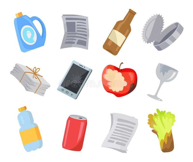 Collection of Various Garbage Icons Color Poster. Isolated on white vector illustration, old newspapers bottle and food scrap, broken phone and glass stock illustration