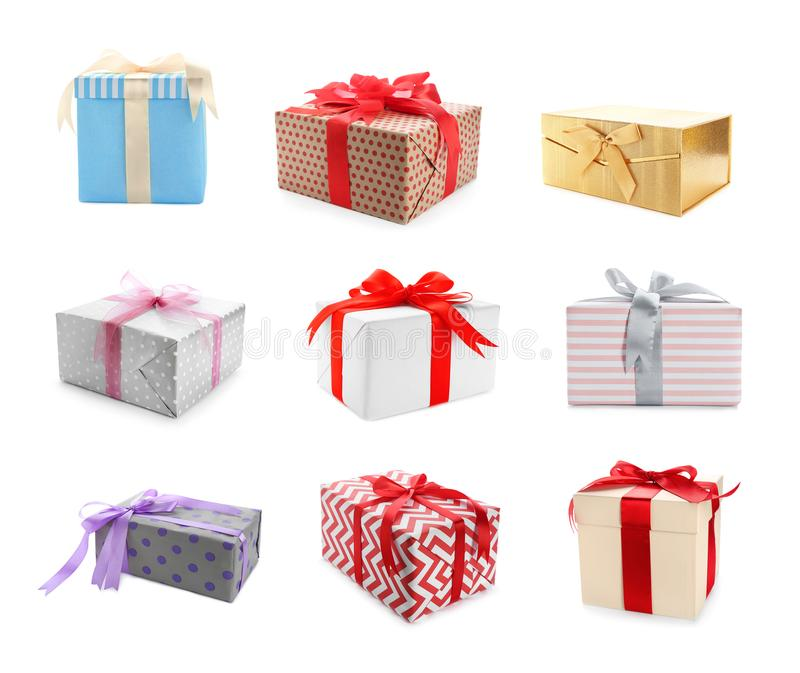 Collection of various gift boxes royalty free stock photos