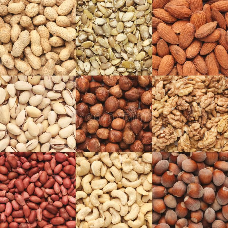 Collection of various healthy nuts, top view stock image