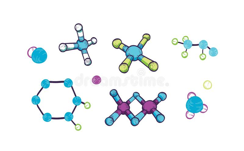Collection of various molecules with atoms and chemical bonds isolated on white background. Bundle of molecular formulas vector illustration