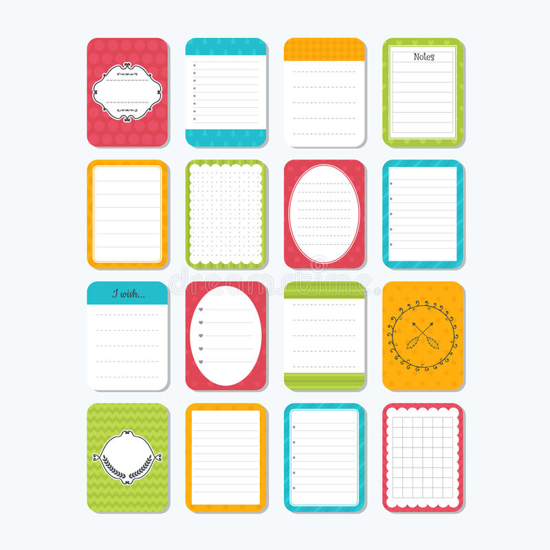 Collection of various note papers. Cute design elements. Template for notebooks. Notes, labels, stickers royalty free illustration