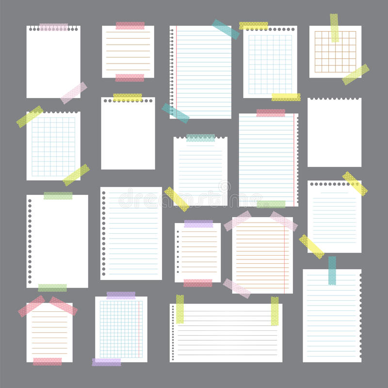 Collection of various note papers with different tape strips. Cu stock illustration