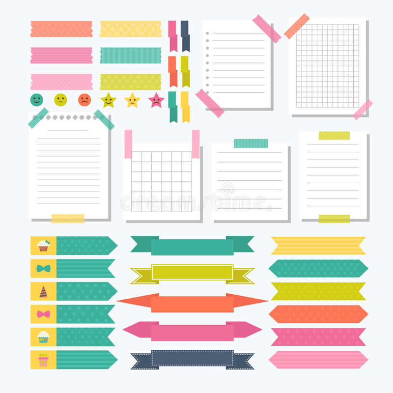 Collection of various note papers with different tape strips. stock illustration